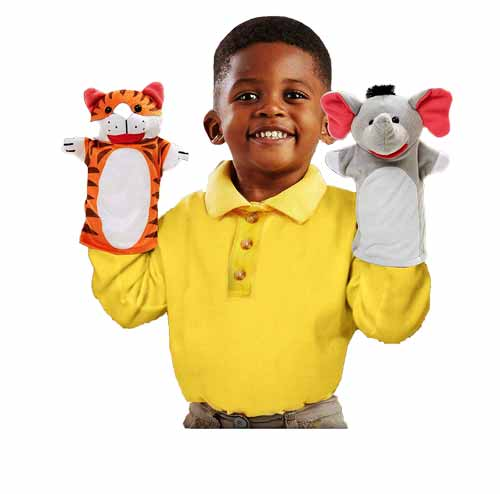 Baby playing with animal hand puppets